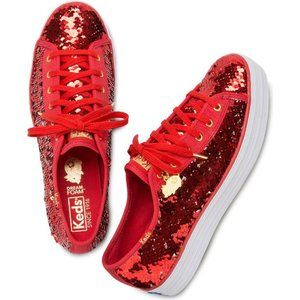 Ked's Triple Kick CNY Red Gold Reverse Sequins Sz9